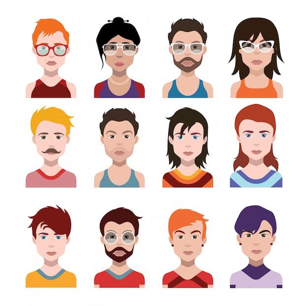 Ensemble d'icônes de personnes Vecteur Premium