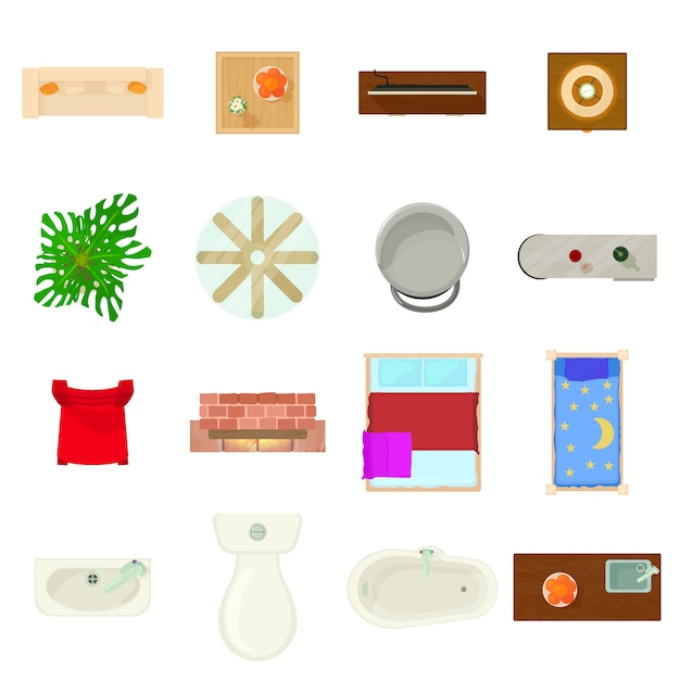 Ensemble d'icônes de plan de meubles. bande dessinée illustration de 16 icônes vectorielles de plan de meubles pour le web Vecteur Premium