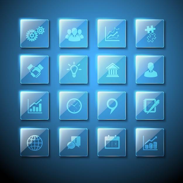 Ensemble d'icônes de plaques de verre transparentes avec des signes commerciaux infographie web Vecteur gratuit