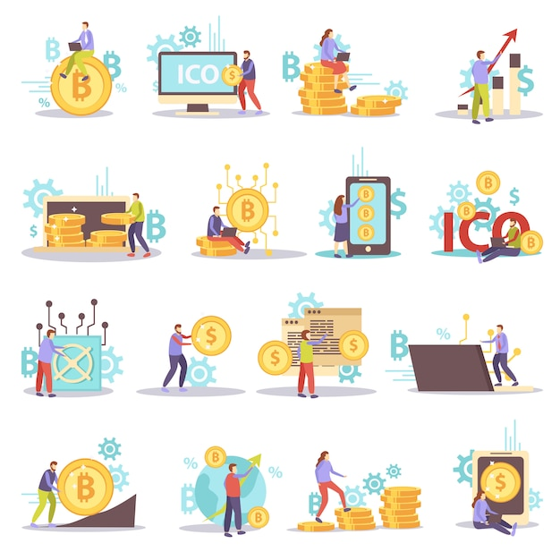 Ensemble D'icônes Plat Affaires Crypto-monnaie Blockchain Isolé Vecteur gratuit