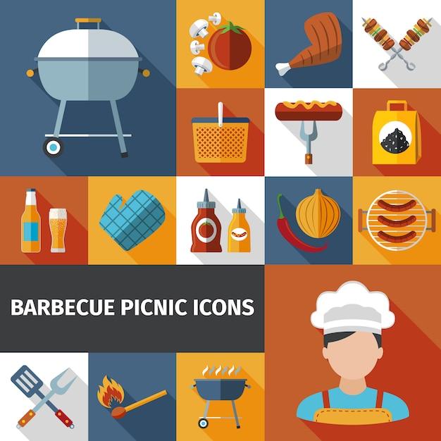 Ensemble d'icônes plat barbecue pique-nique Vecteur gratuit
