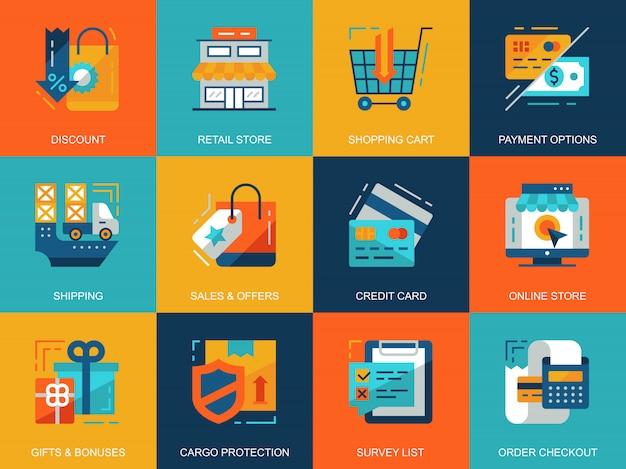 Ensemble d'icônes plat conceptuel shopping et e-commerce Vecteur Premium