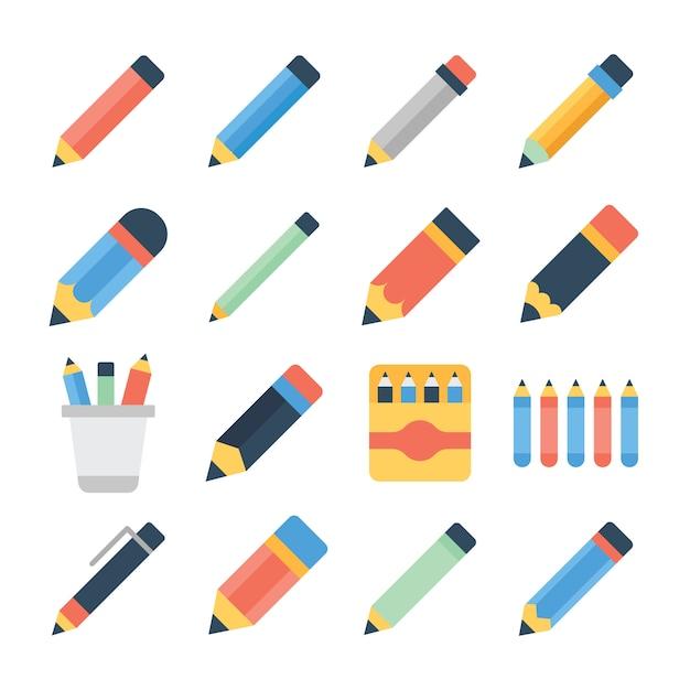 Ensemble D'icônes Plat Crayon Vecteur Premium
