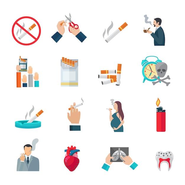 Ensemble d'icônes plat de fumer Vecteur gratuit