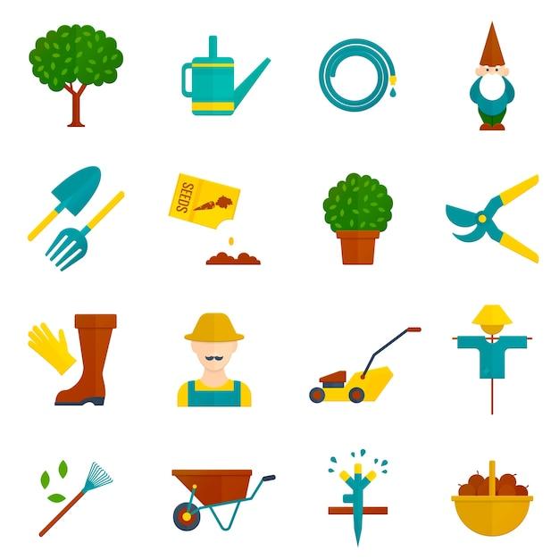 Ensemble d'icônes plat jardin potager Vecteur gratuit