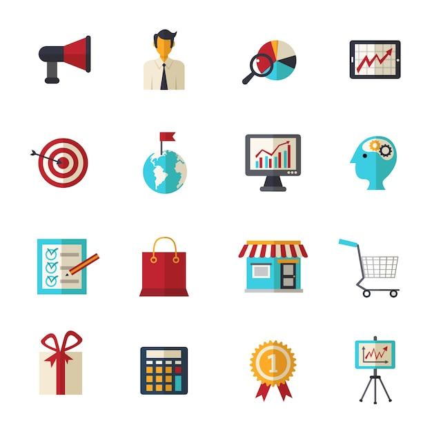 Ensemble d'icônes plat marketing Vecteur gratuit