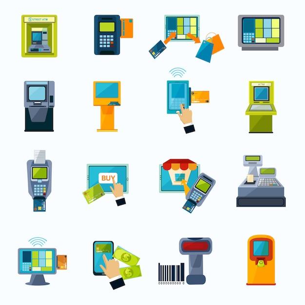 Ensemble d'icônes plat paiement atm Vecteur gratuit