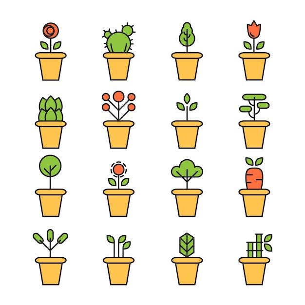 Ensemble d'icônes plat de plantes de pot de jardin fleurs et herbes Vecteur gratuit
