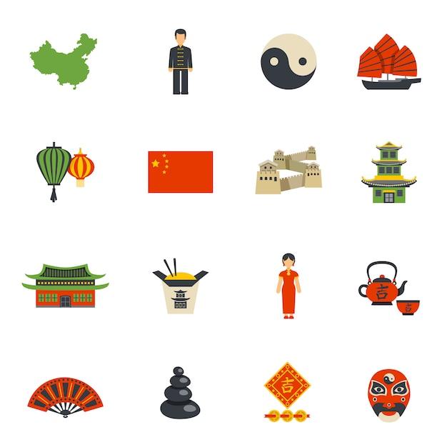 Ensemble d'icônes plat symboles de la culture chinoise Vecteur gratuit