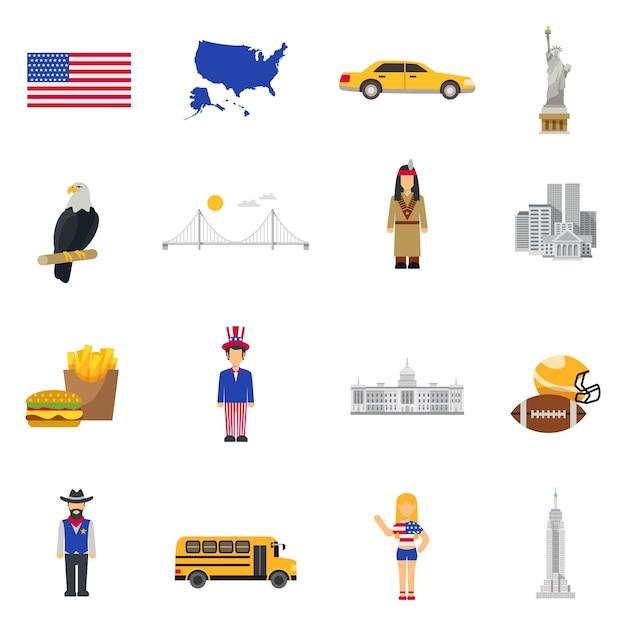 Ensemble d'icônes plat symboles de culture usa Vecteur gratuit