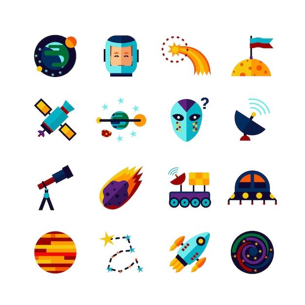 Ensemble d'icônes plat symboles de l'espace Vecteur Premium