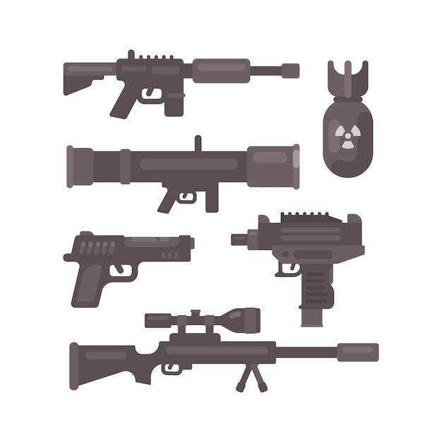 Ensemble d'icônes plates d'arme. collecte de munitions militaire Vecteur Premium