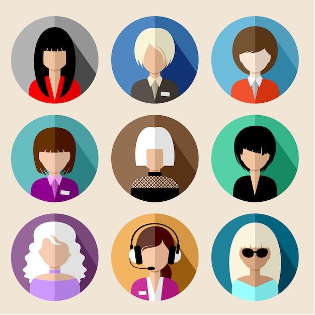 Ensemble D'icônes Plats Ronds Avec Des Femmes. Vecteur Premium