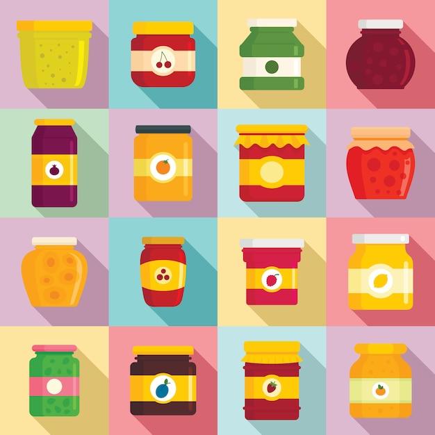 Ensemble d'icônes de pot de confiture, style plat Vecteur Premium