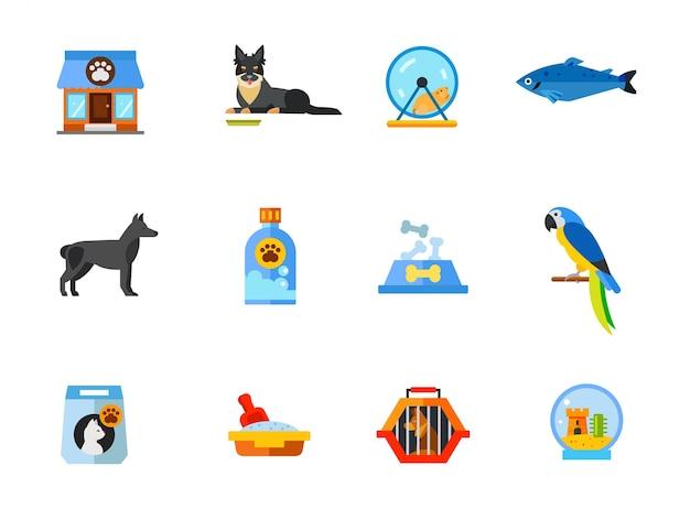 Ensemble d'icônes pour animalerie Vecteur gratuit