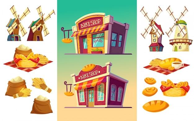 Ensemble d'icônes pour une boulangerie à deux pâtisseries, pain fraîchement cuit, oreilles de blé, sacs à farine, moulins à vent Vecteur gratuit