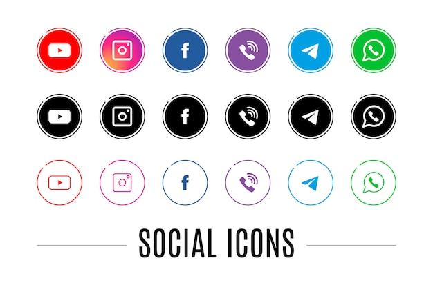 Un Ensemble D'icônes Pour Les Réseaux Sociaux Vecteur Premium