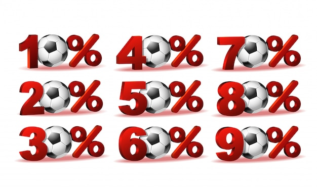 Ensemble D'icônes De Pourcentage De Réduction Avec Ballon De Foot Vecteur Premium