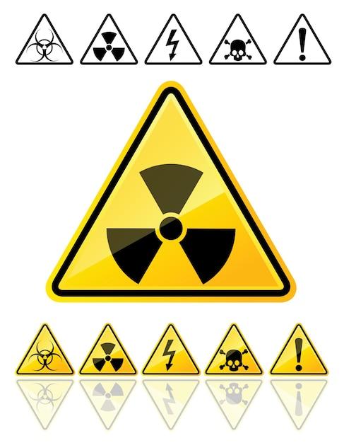 Ensemble D'icônes Des Principaux Symboles D'avertissement Vecteur Premium