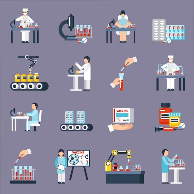 Ensemble d'icônes de production pharmaceutique Vecteur gratuit