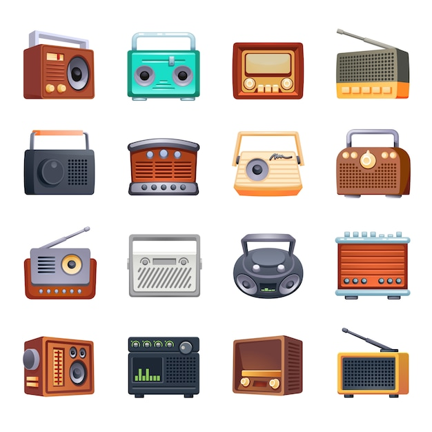Ensemble d'icônes radio, style cartoon Vecteur Premium