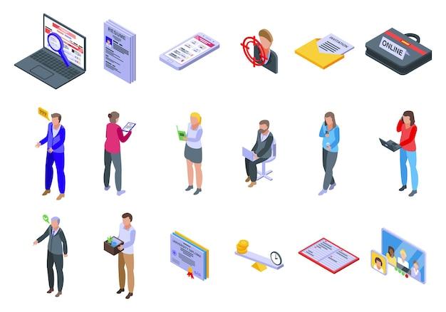Ensemble D'icônes De Recherche D'emploi En Ligne. Ensemble Isométrique D'icônes De Recherche D'emploi En Ligne Pour Le Web Vecteur Premium