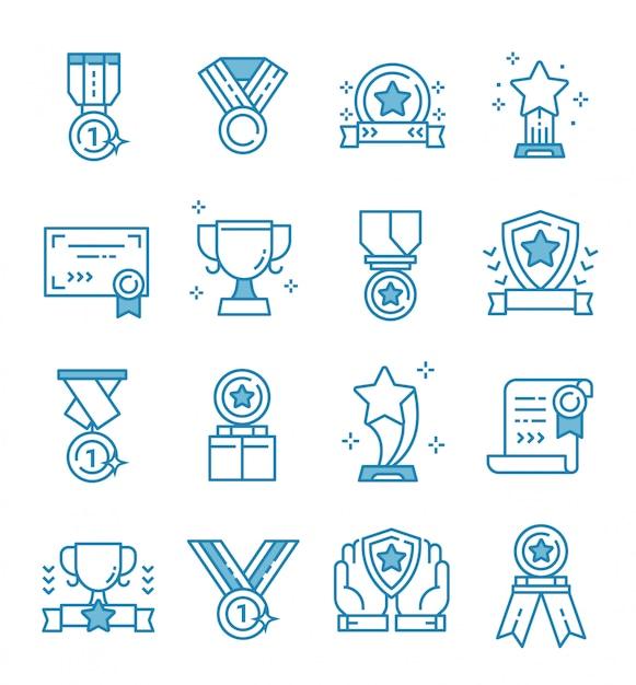 Ensemble D'icônes De Récompenses Avec Style De Contour Vecteur Premium