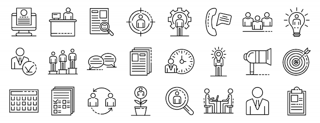 Ensemble d'icônes de recrutement, style de contour Vecteur Premium