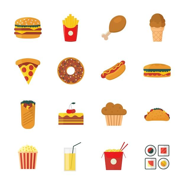 Ensemble d'icônes de restauration rapide design plat / dessin animé. Vecteur Premium