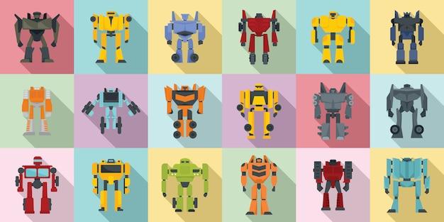 Ensemble D'icônes Robot-transformateur Vecteur Premium