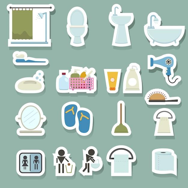 Ensemble d'icônes de salle de bain Vecteur Premium