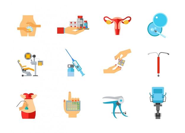 Ensemble d'icônes de santé féminine Vecteur gratuit