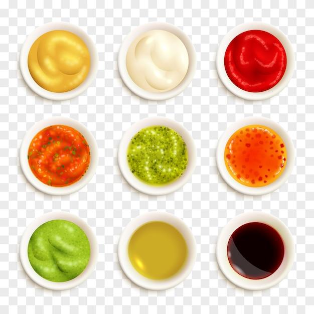 Ensemble d'icônes de sauce Vecteur gratuit