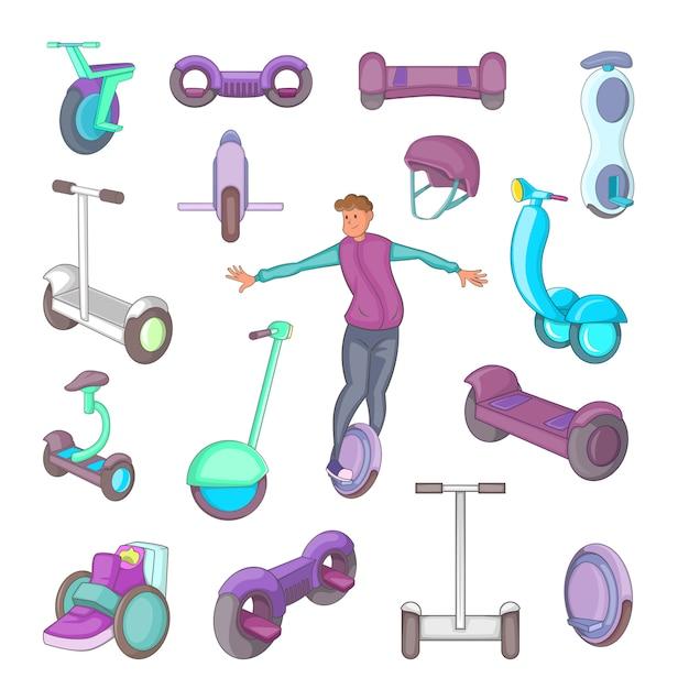 Ensemble d'icônes de scooter auto-équilibrage Vecteur Premium