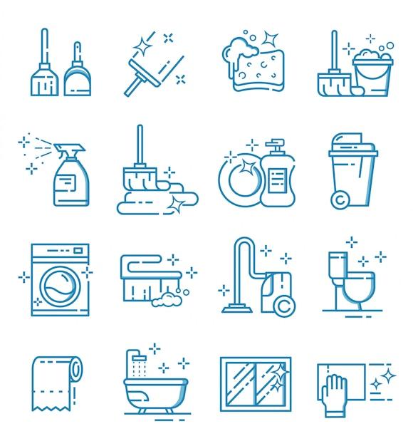 Ensemble D'icônes De Service De Nettoyage Avec Style De Contour Vecteur Premium