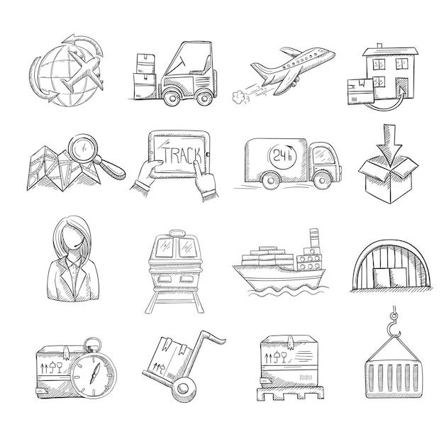Ensemble d'icônes de services de logistique et de livraison Vecteur gratuit