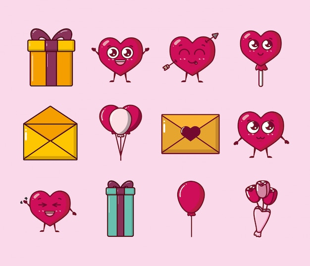 Ensemble D'icônes Set Valentines Day Vecteur Premium