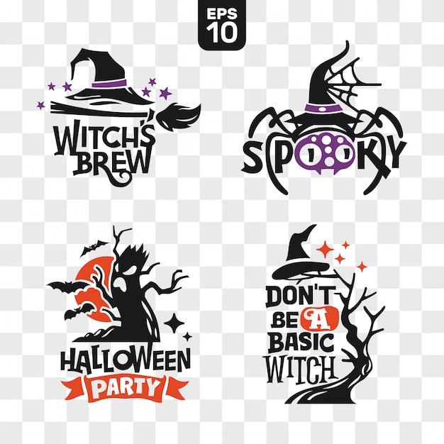Ensemble d'icônes de silhouettes halloween avec citation pour la décoration de fête et autocollant de coupe Vecteur Premium