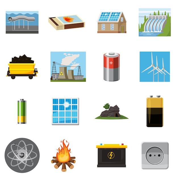 Ensemble d'icônes de sources d'énergie éléments, style de bande dessinée Vecteur Premium