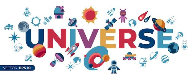 Ensemble d'icônes space galaxy et univers Vecteur Premium