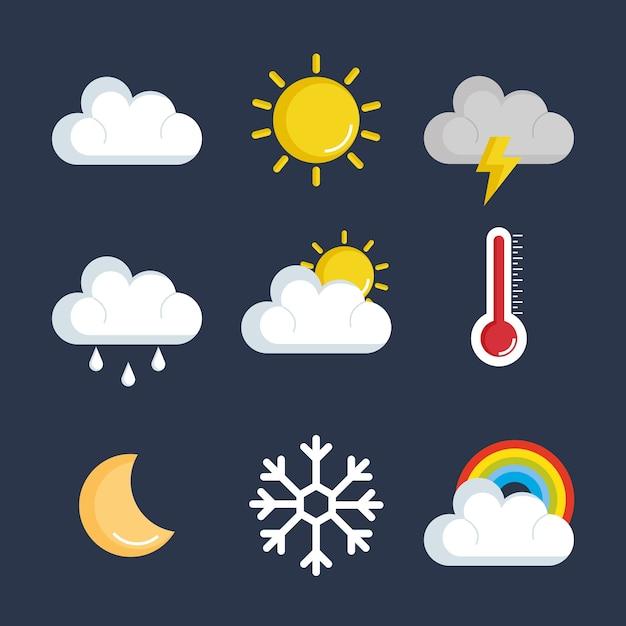 Ensemble d'icônes de statut météo vector illustration design Vecteur Premium
