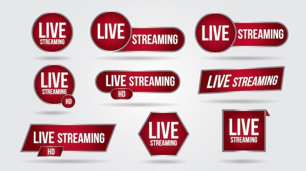 Ensemble D'icônes De Streaming Vidéo En Direct Logo Interface De Bannière De Nouvelles Tv. Symboles Rouges Troisième Modèle Inférieur Vecteur Premium