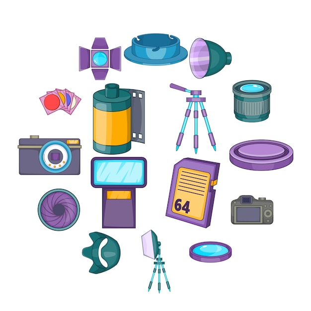 Ensemble d'icônes de studio photo, style cartoon Vecteur Premium