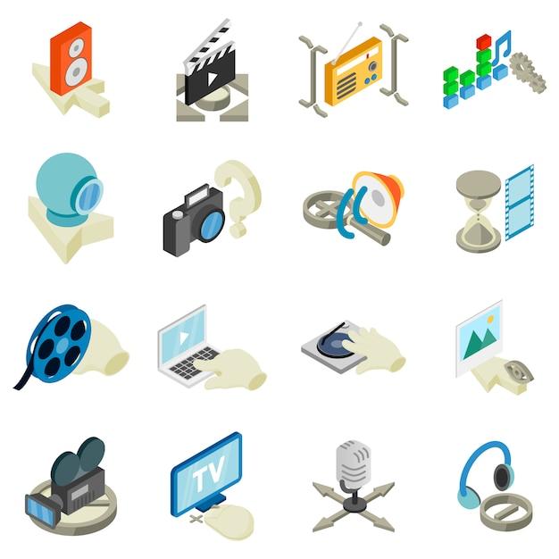 Ensemble d'icônes de studio vidéo, style isométrique Vecteur Premium