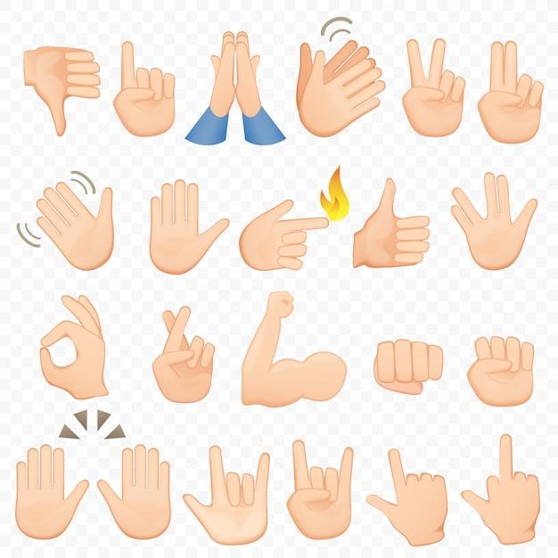 Ensemble D'icônes Et Symboles De Mains De Dessin Animé. Icônes De Main Emoji. Différentes Mains, Gestes, Signaux Et Signes, Collection D'illustrations Vecteur Premium