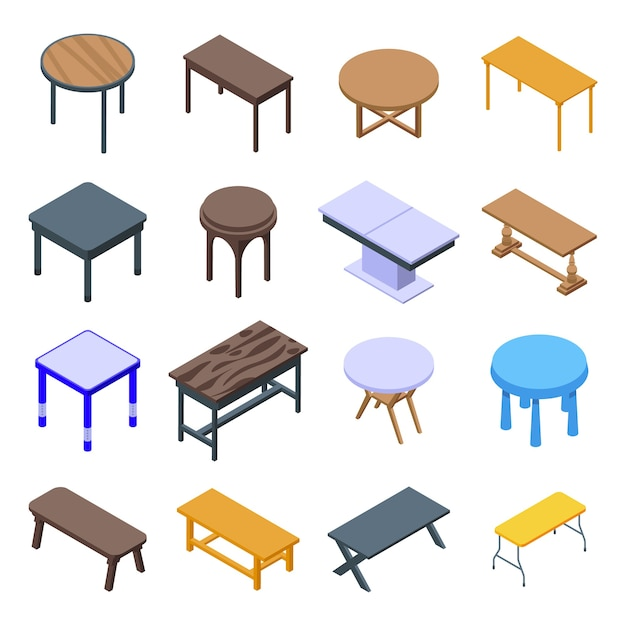 Ensemble D'icônes De Table. Ensemble Isométrique D'icônes De Table Pour Le Web Isolé Sur Fond Blanc Vecteur Premium