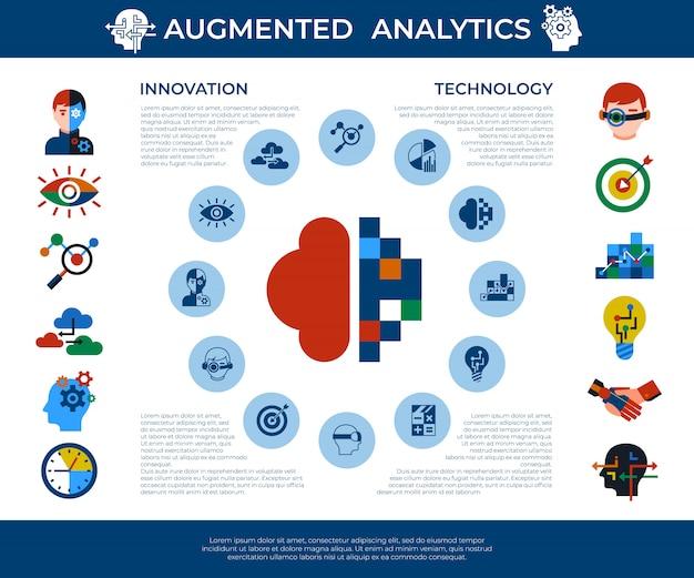 Ensemble d'icônes de technologie d'analyse et d'innovation augmentée Vecteur Premium