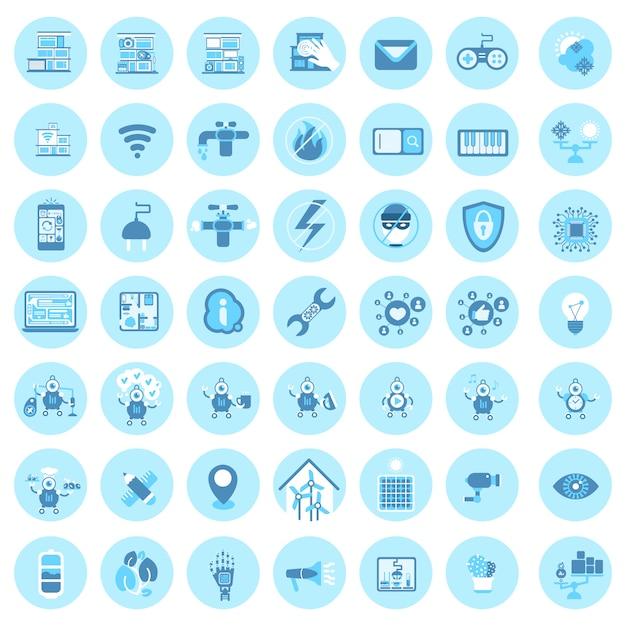 Ensemble d'icônes de technologie maison intelligente système de contrôle de la maison moderne Vecteur Premium
