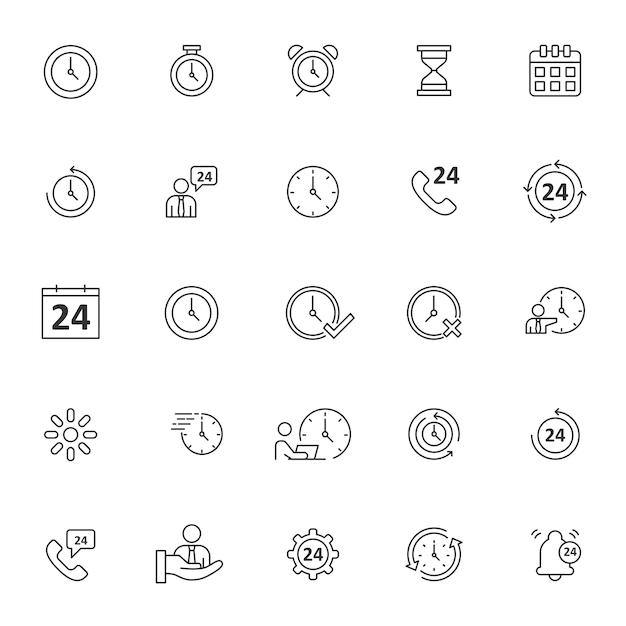 Ensemble D'icônes De Temps Avec Contour Simple Vecteur Premium