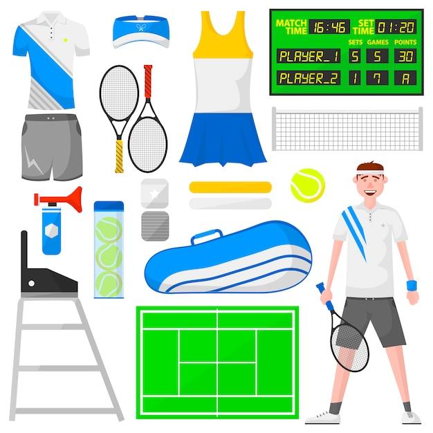 Ensemble d'icônes de tennis de dessin animé. Vecteur Premium